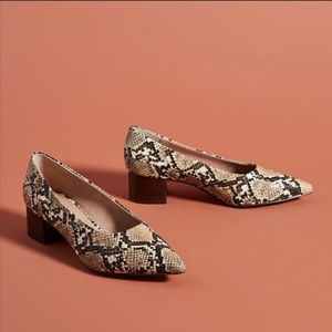 Anthropologie snack print leather heels